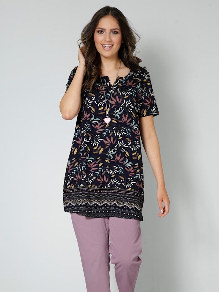 Janet & Joyce Tunika-Shirt mit Alloverprint, Marineblau/Mauve