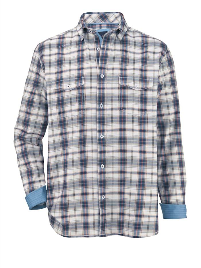 BABISTA Overhemd met washed effecten, Ecru/Marine/Olijf