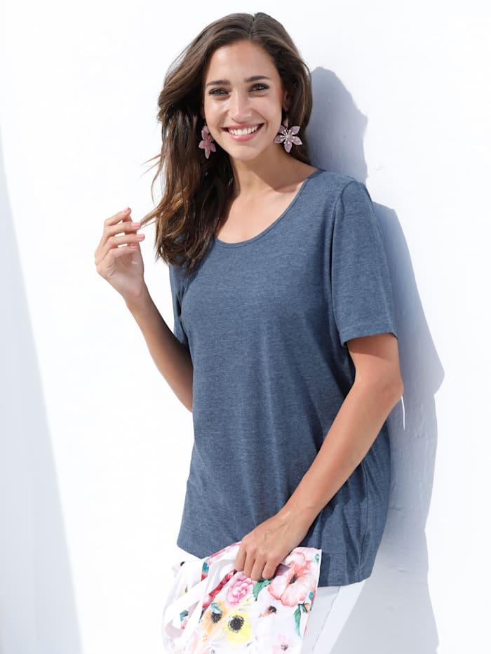 MIAMODA Shirt in kurzer Länge, Blau melange
