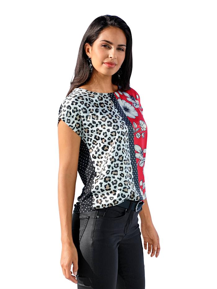Shirt met patronen- en materialenmix