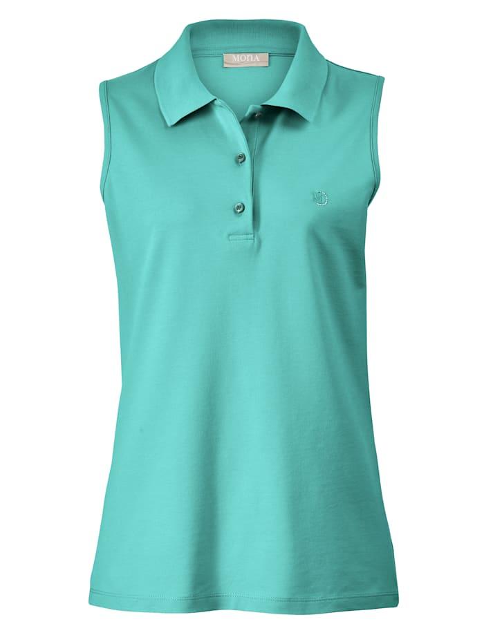 Polo shirt with elegantrhinestone embellishment