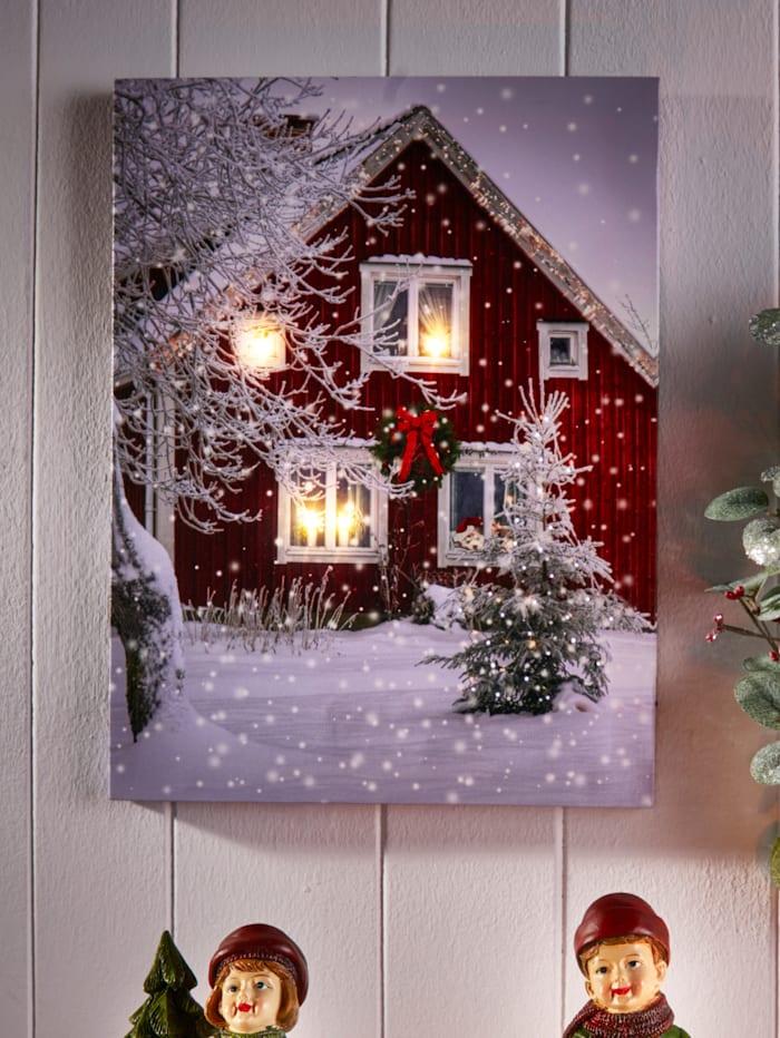 Tavla med LED-belysning – hus i snö