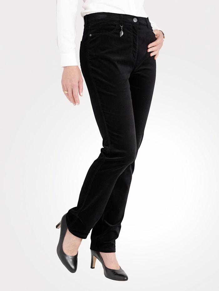 Toni Pantalon en velours doux, Noir