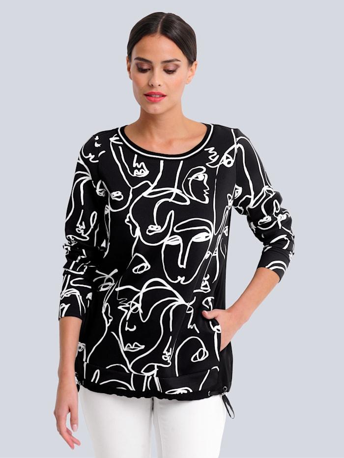 Alba Moda Shirt aus trageangenehmer Piquée-Qualität, Schwarz/Weiß