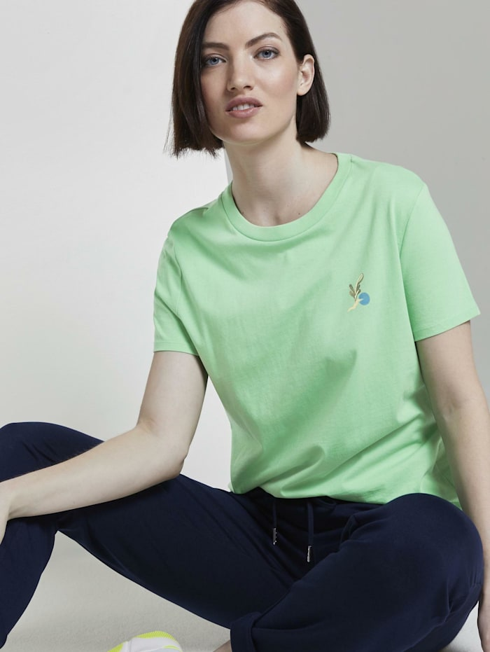 Tom Tailor Denim T-Shirt mit Rückenprint im Loose Fit, dusty apple green