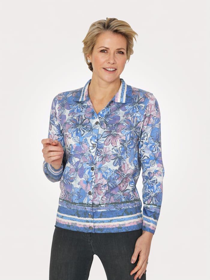 DiStrick Pullover zum Aufknöpfen, Blau/Flieder