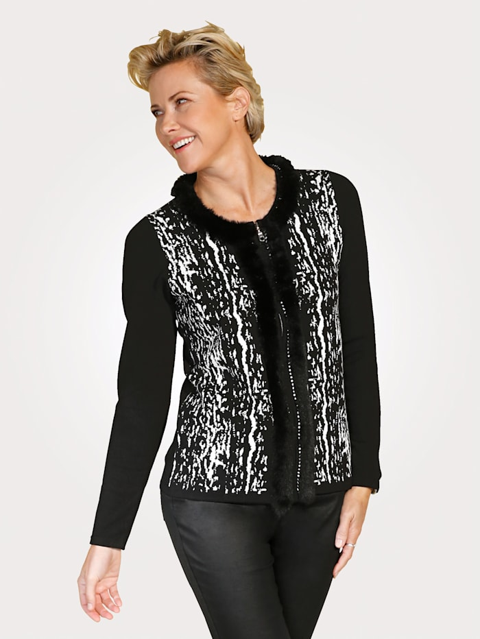 MONA Cardigan with a faux fur trim, Black/White