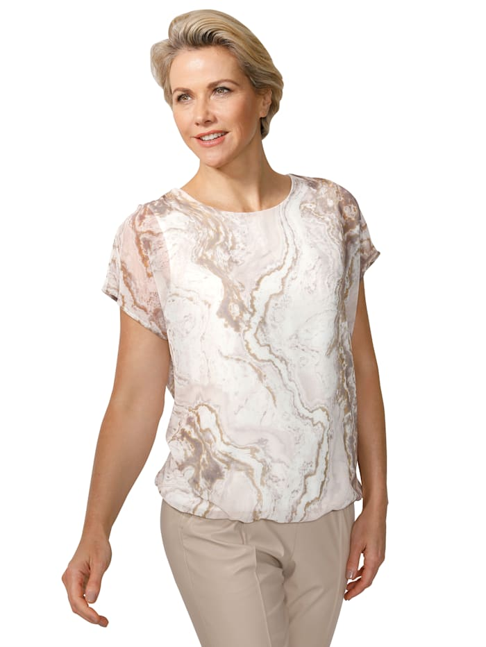 Pull-on blouse with a marble-effect print