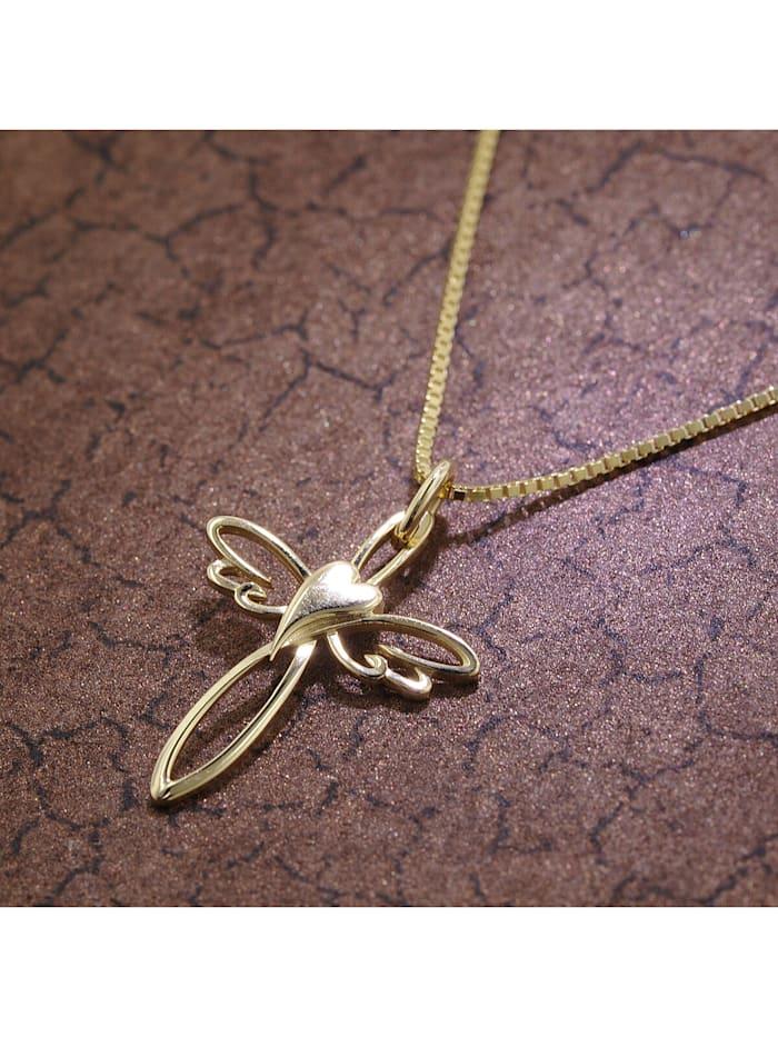 Kreuz-Anhänger 333 Gold mit goldplattierter Silberkette
