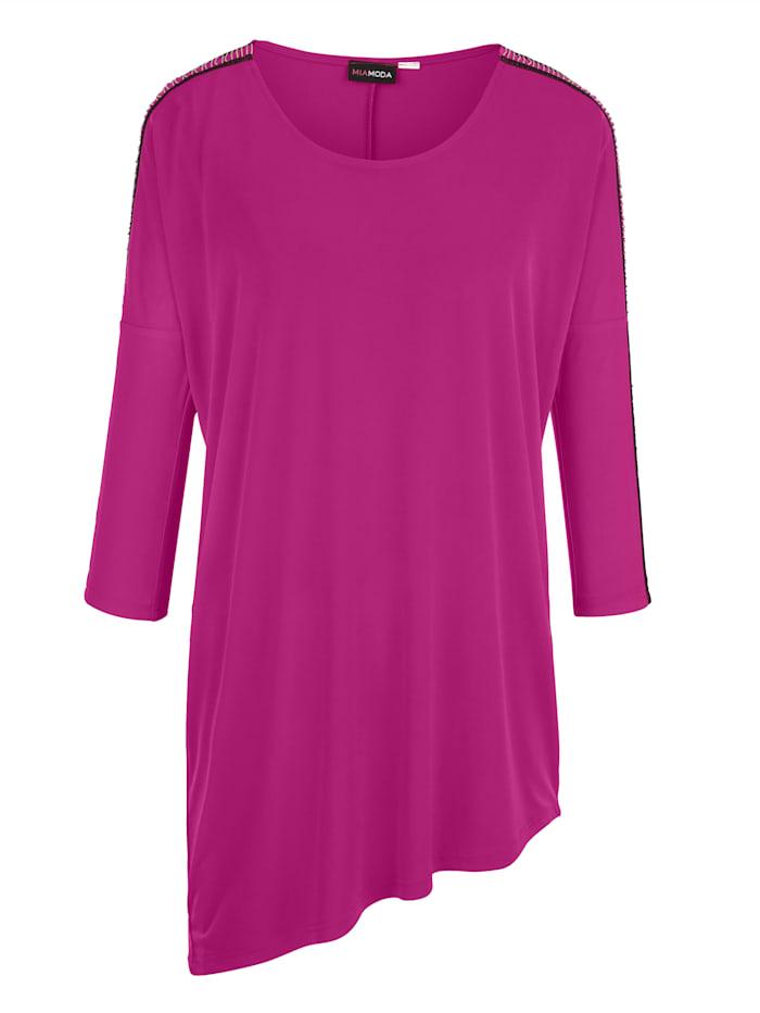 MIAMODA Shirt met kettingversiering op de mouwen, Pink