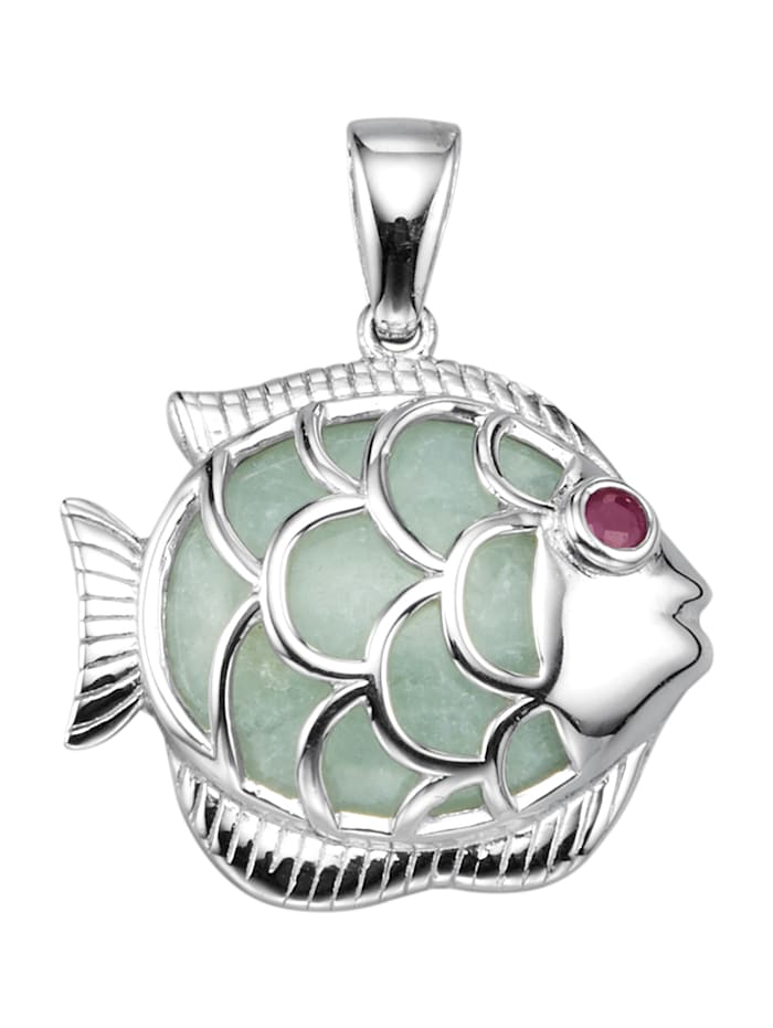 Hanger Vis van verguld zilver, Wit
