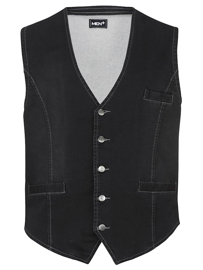 Men Plus Jeansväst med plats för magen, Black stone