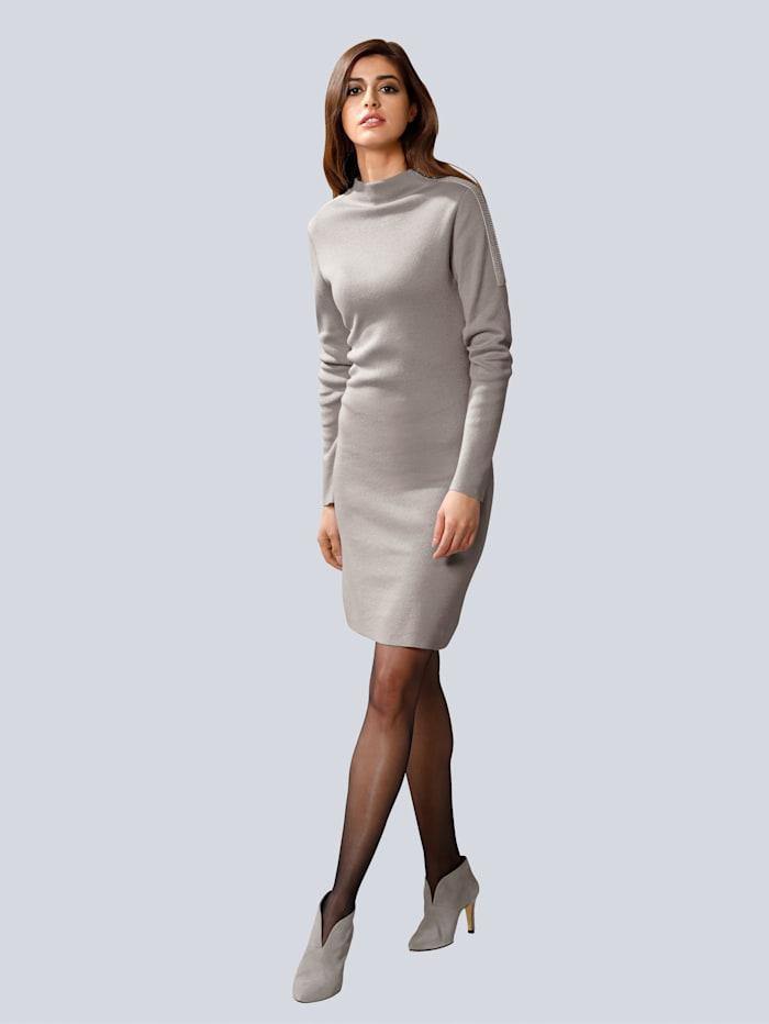 Alba Moda Strickkleid mit modischem Stehkragen, Stein