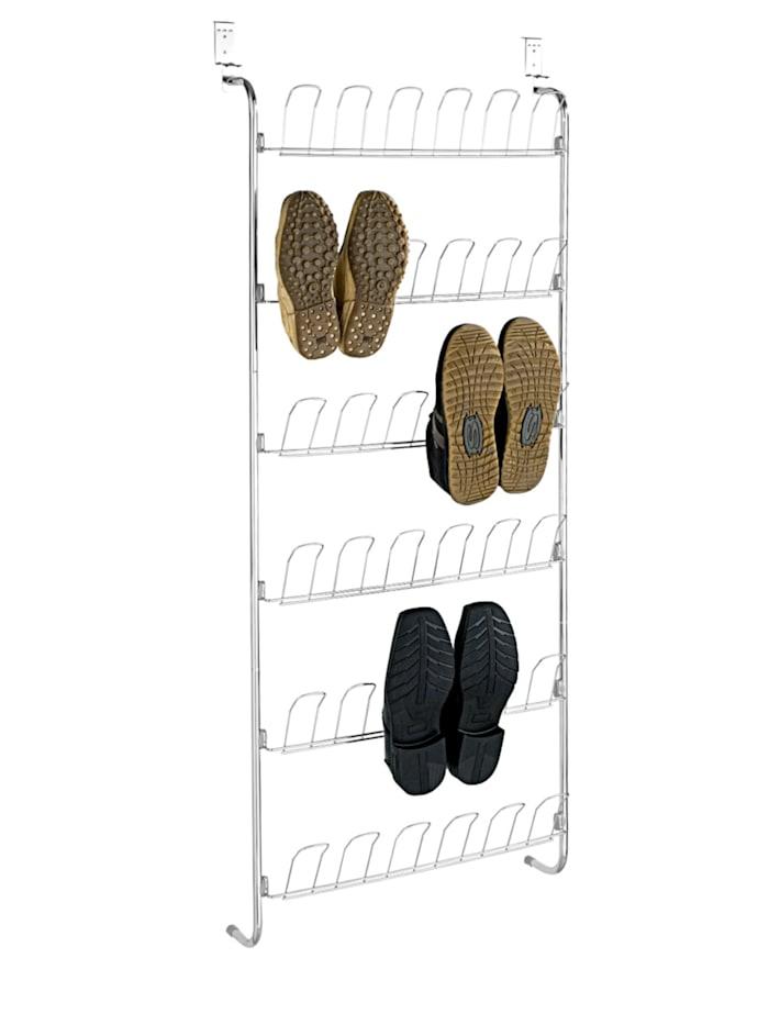 Wenko Türregal für Schuhe, für 18 Paar, Silber glänzend, Schutzkappen PVC: Grau - Hellgrau
