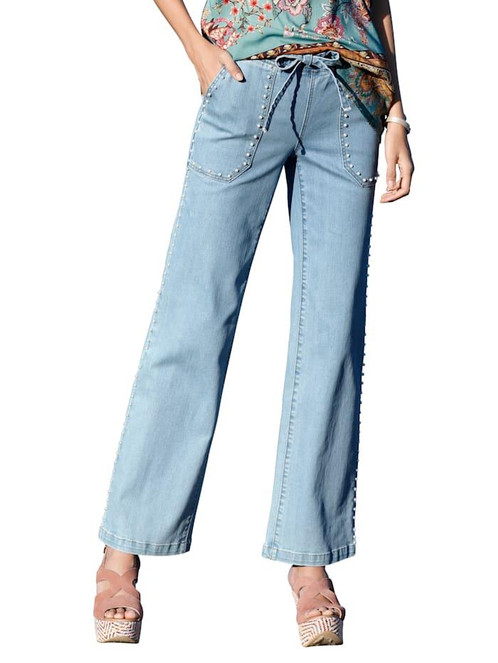 AMY VERMONT Jeans mit Perlendekoration, Blau