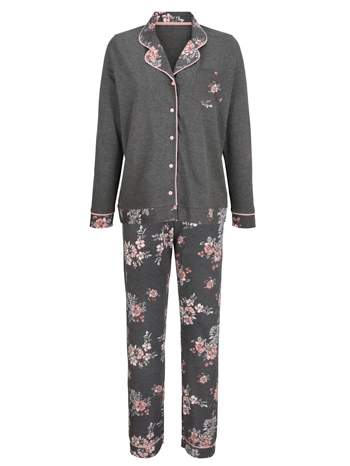 "MONA Pyjama en coton issu de l'initiative ""Cotton made in Africa"", Anthracite/Vieux rose/Écru"