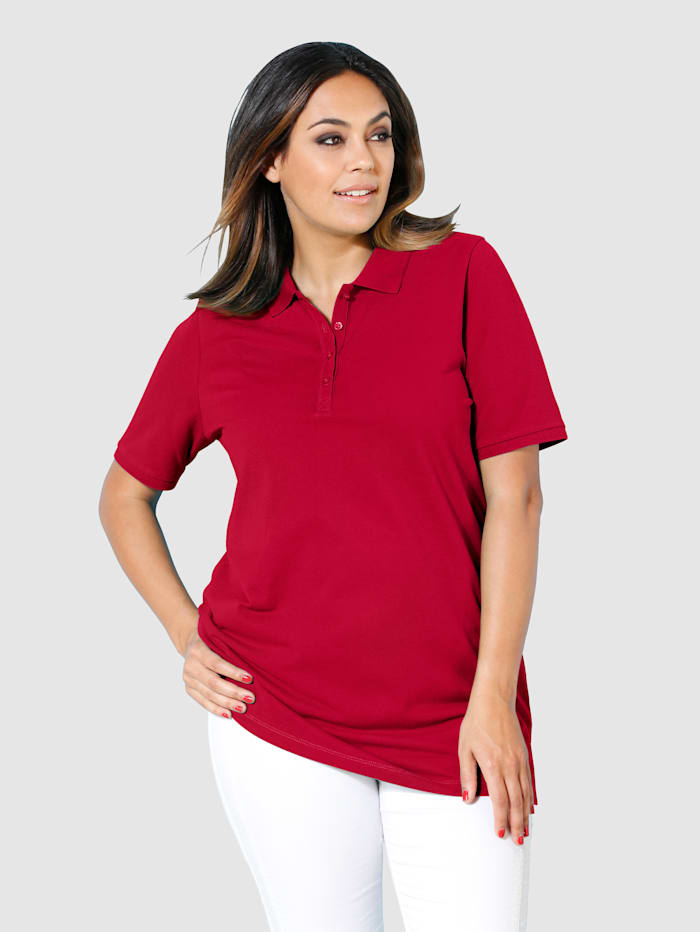 MIAMODA Poloshirt aus leicht strukturiertem Baumwollmaterial, Rot