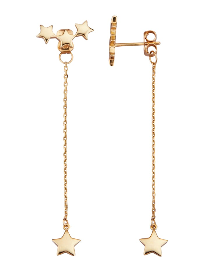 Stern-Ohrringe in Gelbgold 375, Gelbgoldfarben