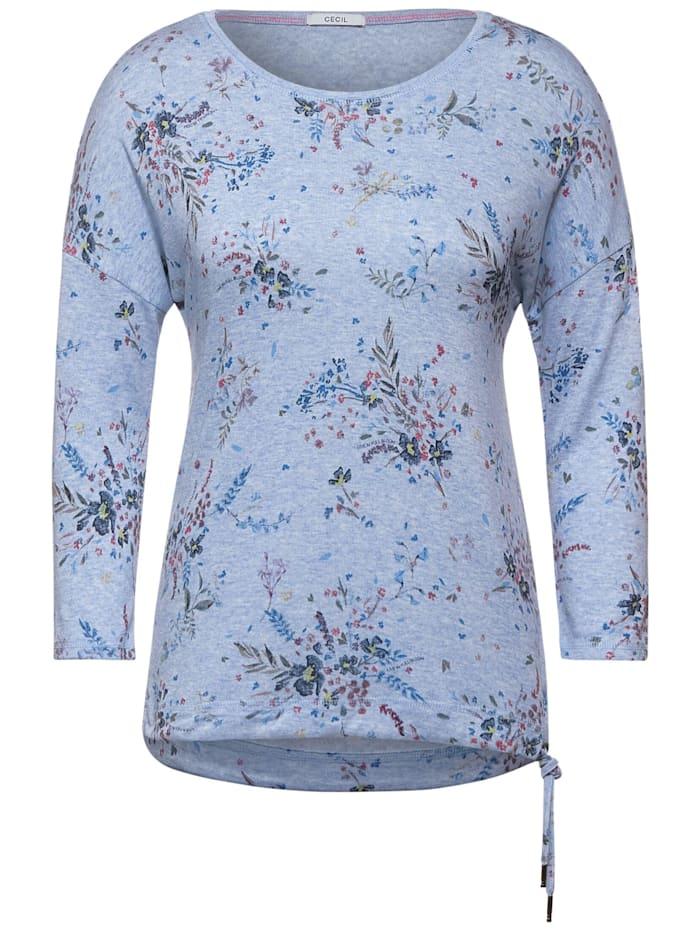 Cecil Melange-Shirt mit Blumen, blue melange