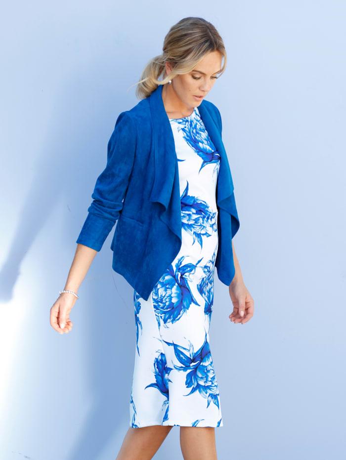 AMY VERMONT Kleid mit Blumendruck, Weiß/Blau