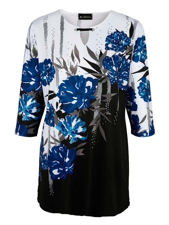 m. collection Dlhé tričko s kvetinovým dizajnom potlače, Čierna/Biela/Kráľovská