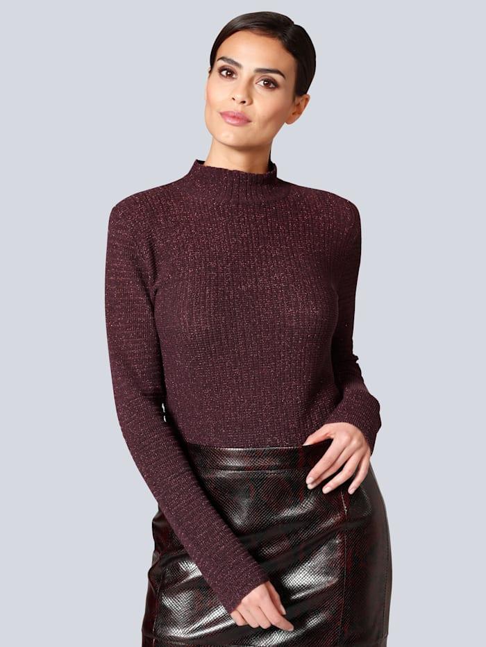 Alba Moda Pullover edel mit Glanzgarn, Bordeaux