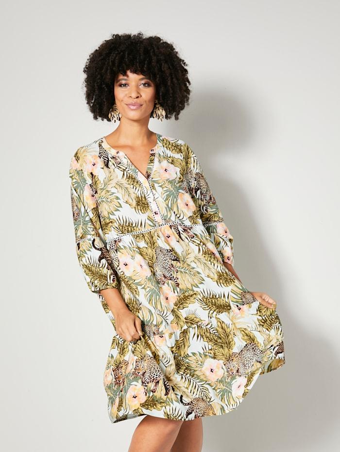 Angel of Style Šaty s vrstvením na ukončení, Biela/Khaki