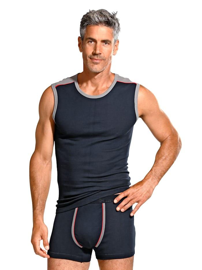 BABISTA Cityshirt mit Kontrasteinsätzen und Paspelierung an Schulter und Armausschnitten, 2x marine/grau