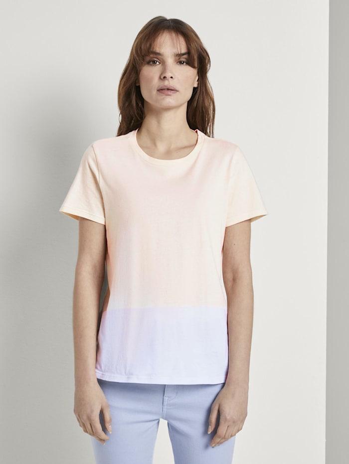 Tom Tailor Nena & Larissa: T-Shirt mit Batik-Look, blue beige dip dye