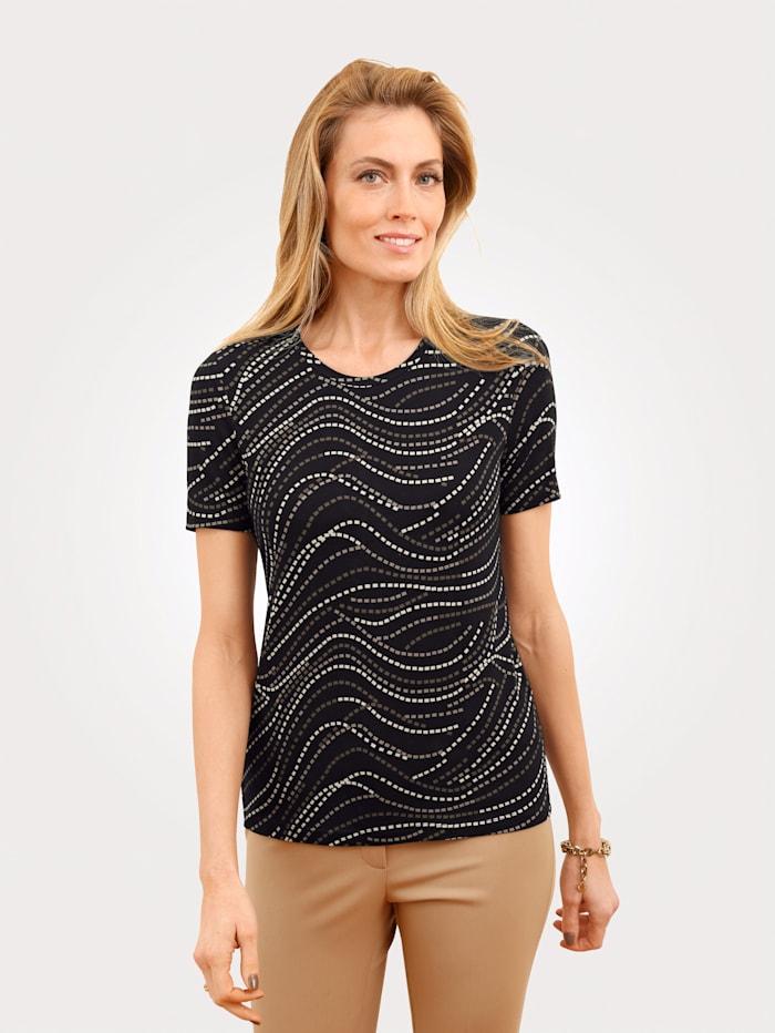 MONA Shirt mit grafischem Muster, Schwarz/Beige/Taupe