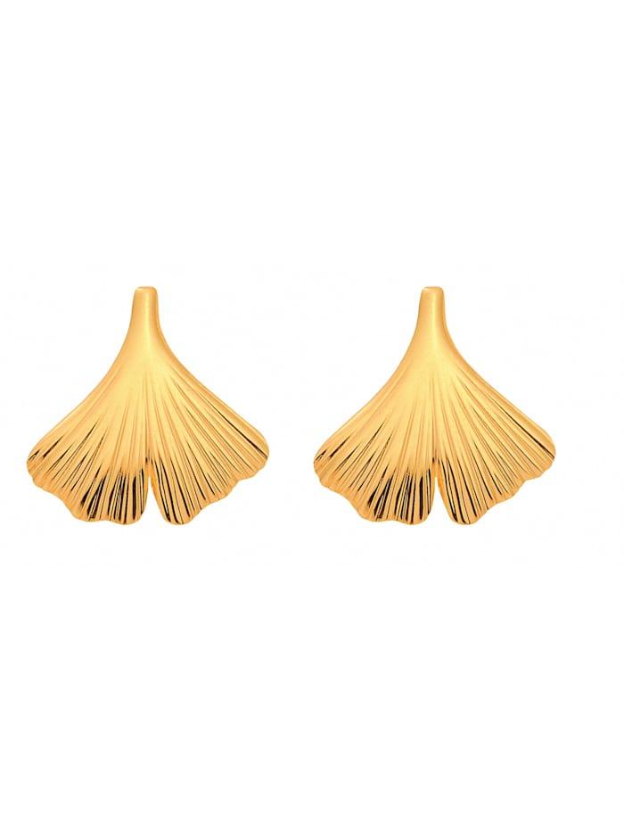 1001 Diamonds Damen Goldschmuck 375 Gold Ohrringe / Ohrstecker Ginkoblatt, gold