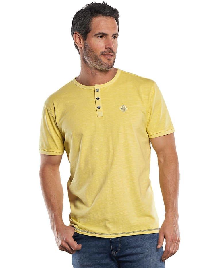 Engbers T-Shirt mit Knopfleiste und Kontrastdetails, Pastellgelb