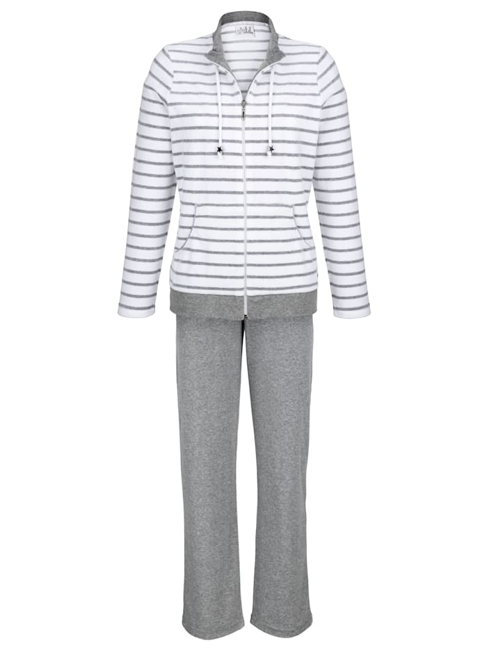 Miss Ulrike Loungewear set made from soft cotton blend, Grey Mélange/White