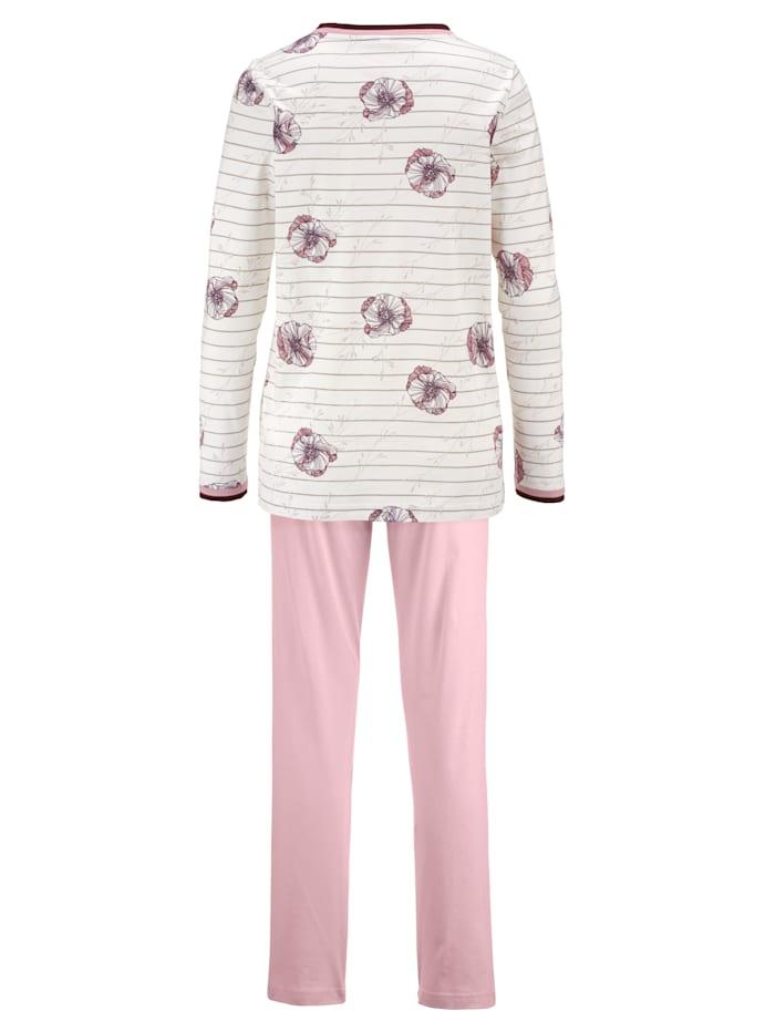 Schlafanzug mit zweifarbiger Kontrastpaspelierung
