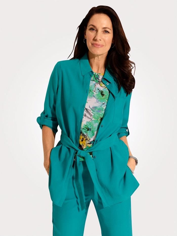 MONA Blouse met bindceintuur, Turquoise