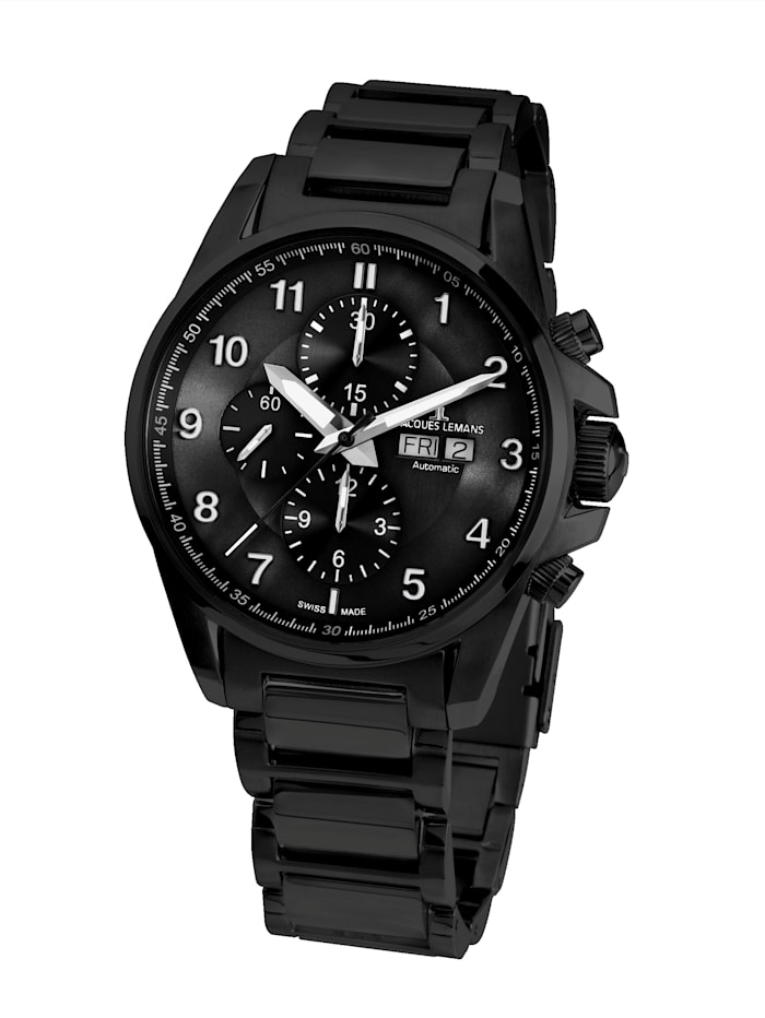 Jacques Lemans Herren-Uhr- Automatik-Chronograph Serie: Liverpool Automatic, Kollektion: Sport: 1- 1750G, Schwarz