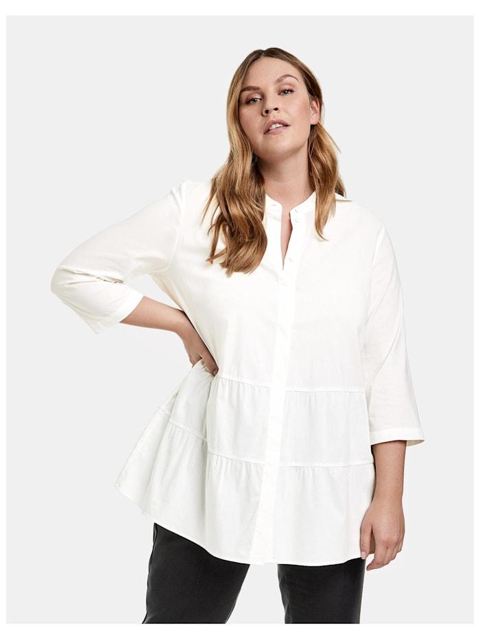 Samoon Ausgestellte Bluse aus Organic-Cotton, Offwhite