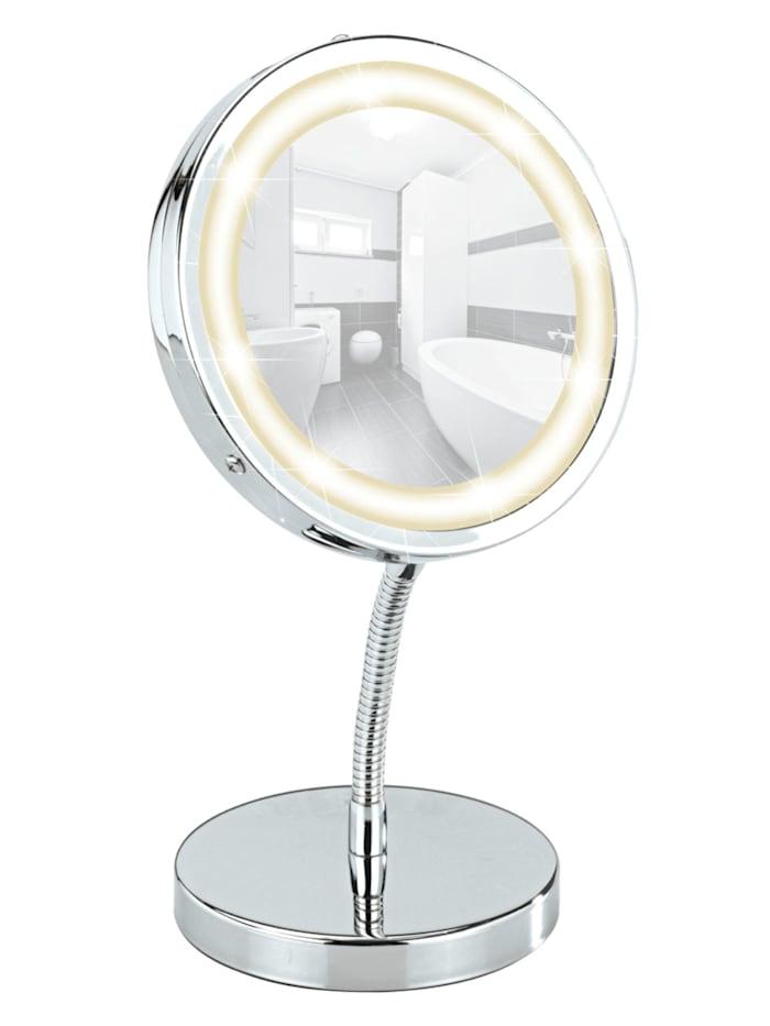 Wenko LED Kosmetikspiegel Brolo, Standspiegel, 3-fach Vergrößerung, Chrom