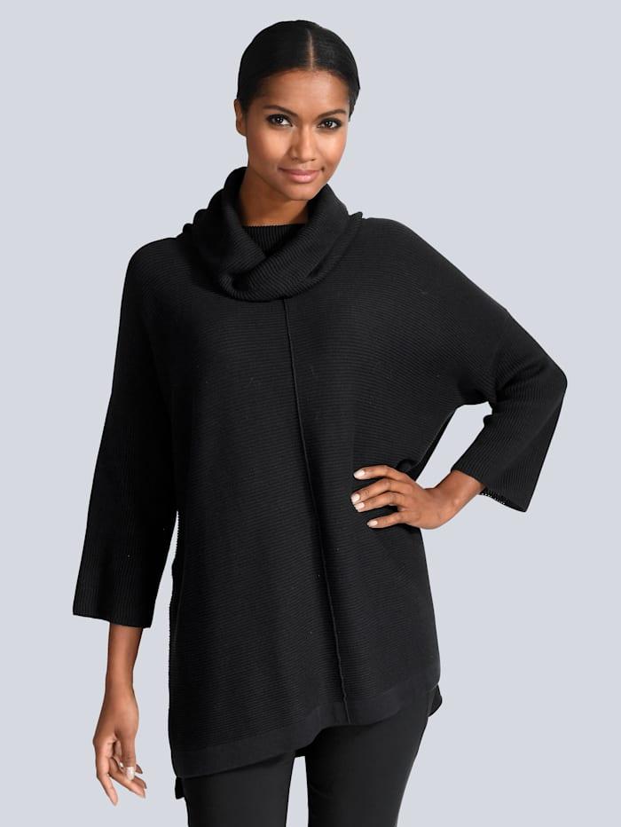 Alba Moda Pullover mit kleinen Seitenschlitzen, Schwarz