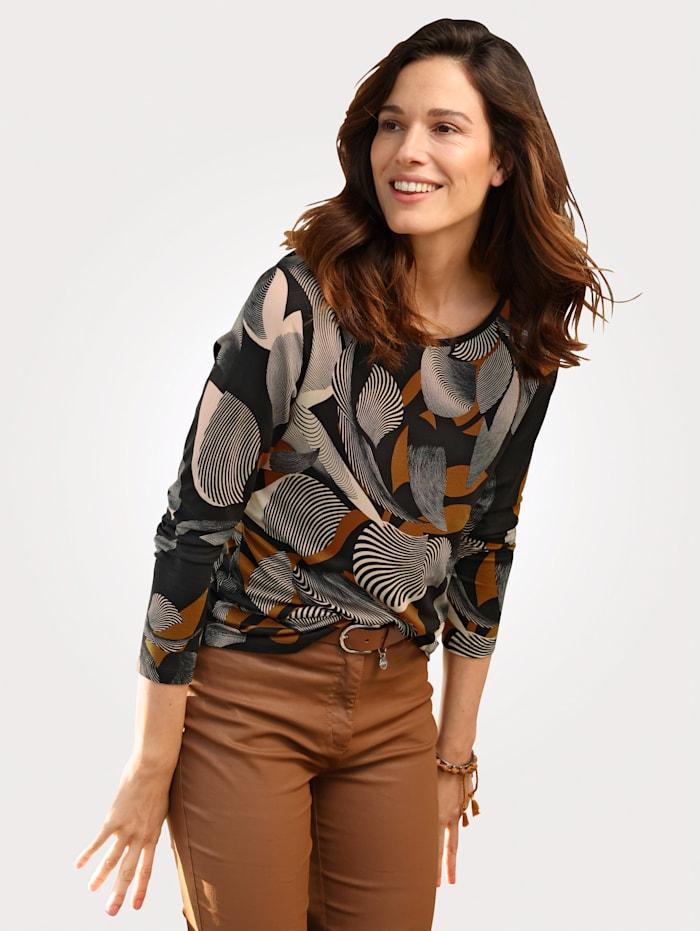 MONA Shirt mit floralem Druck, Schwarz/Cognac
