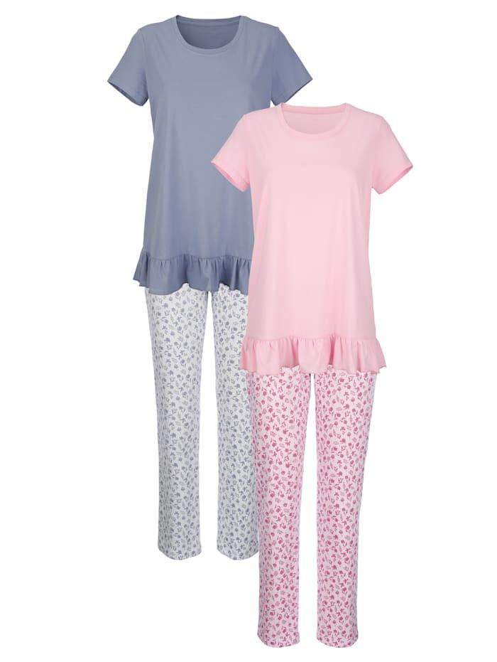 Blue Moon Schlafanzüge aus Organic Cotton, Rosé/Hellblau