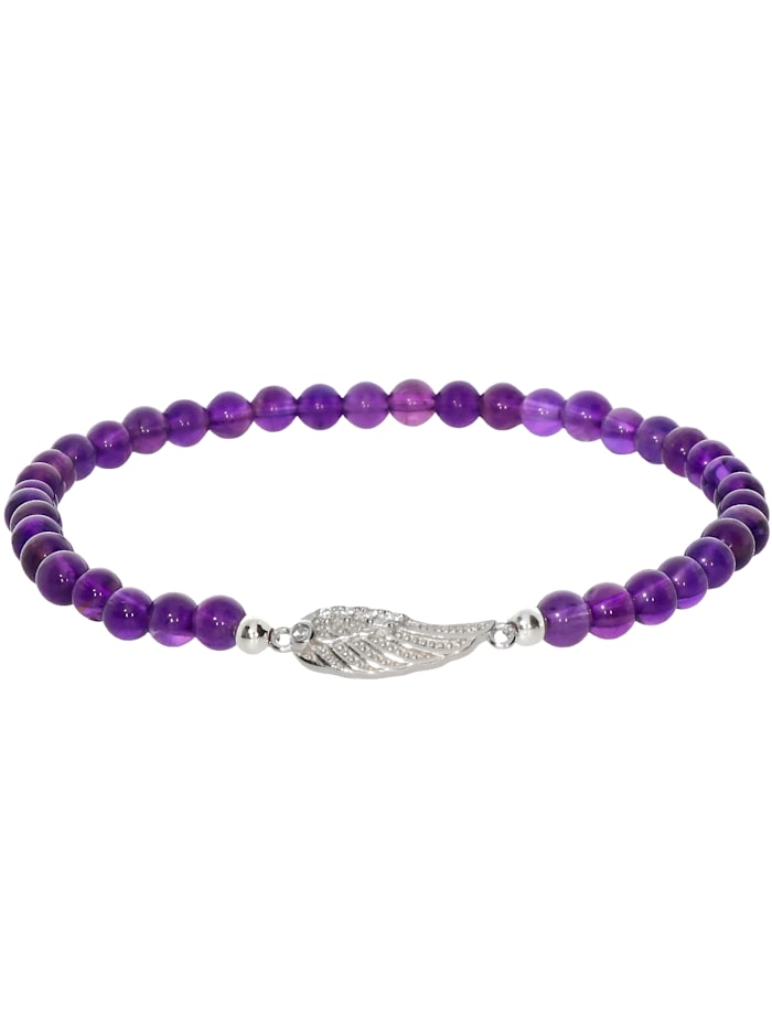 1001 Diamonds Engelsflügel Amethyst Armband 925 Silber 17 cm, violett