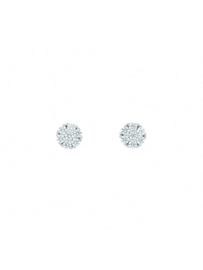 1001 Diamonds Damen Goldschmuck 585 Weißgold Ohrringe / Ohrstecker mit Zirkonia Ø 5,7 mm, silber
