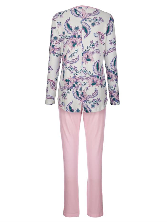 Schlafanzug im floralen Dessin mit verlängertem Rückenteil