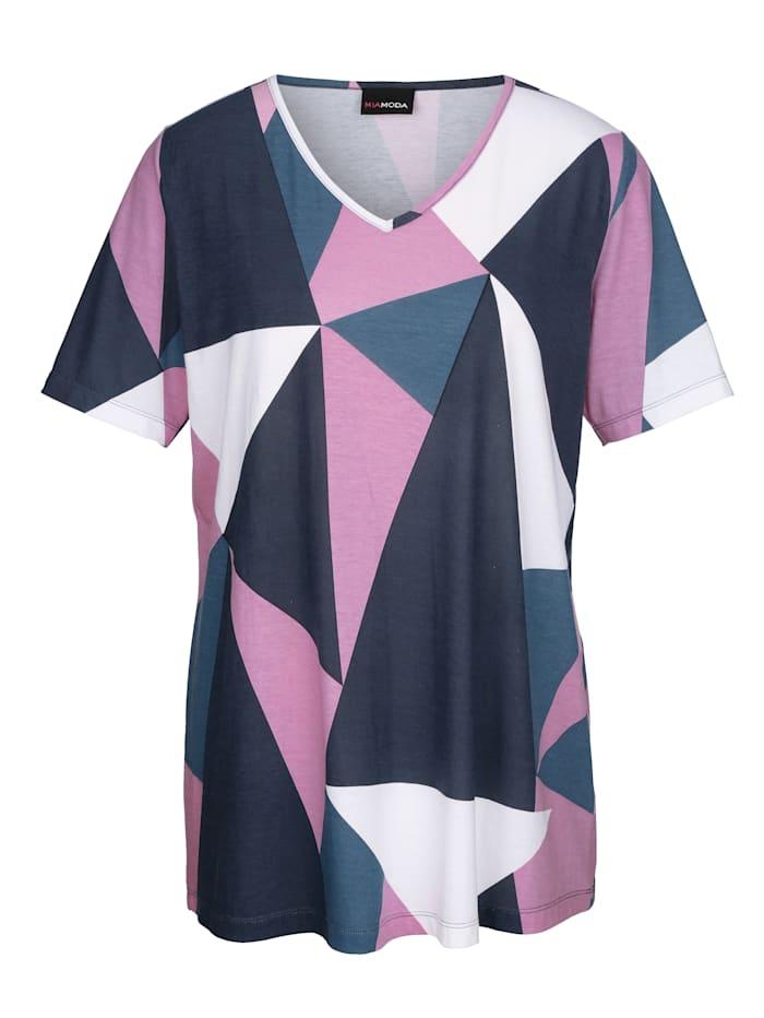 MIAMODA Graafisesti kuvioitu paita, Liila/Sininen/Valkoinen