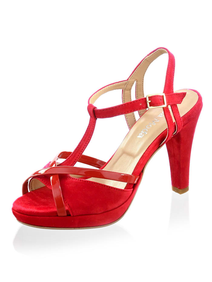 Alba Moda Sandalette aus Ziegenveloursleder, Rot