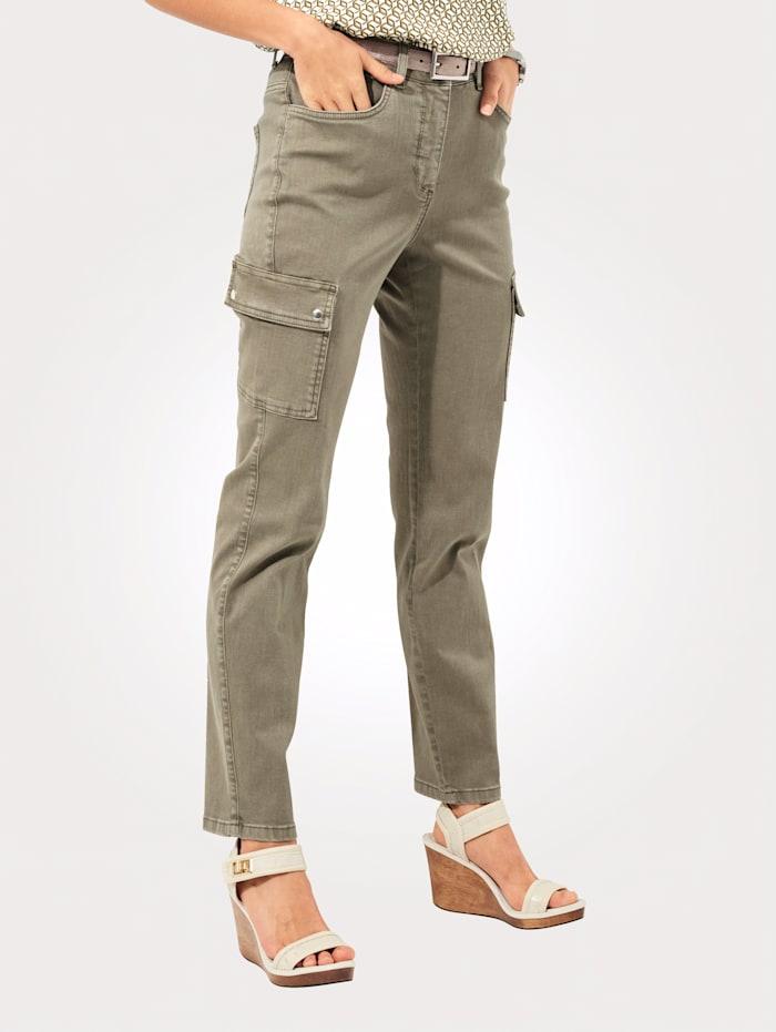 MONA Pantalon cargo de coupe 5 poches, Vert jonc