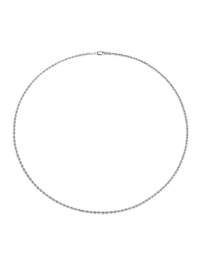 Chaîne maille cordon en or blanc 585, Blanc