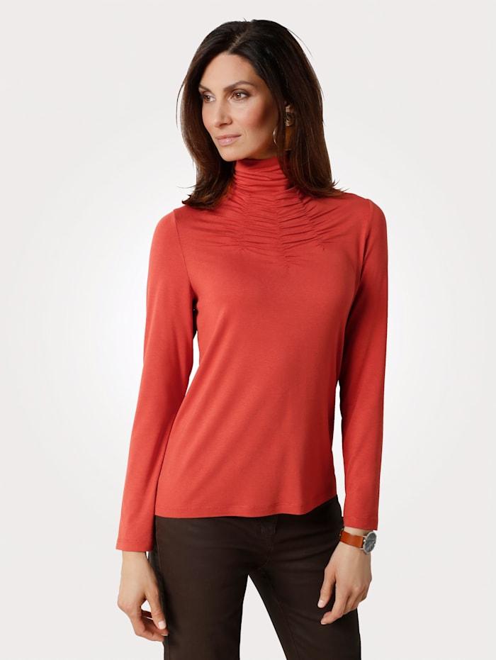 MONA Shirt met geplooide opstaande kraag, Terracotta
