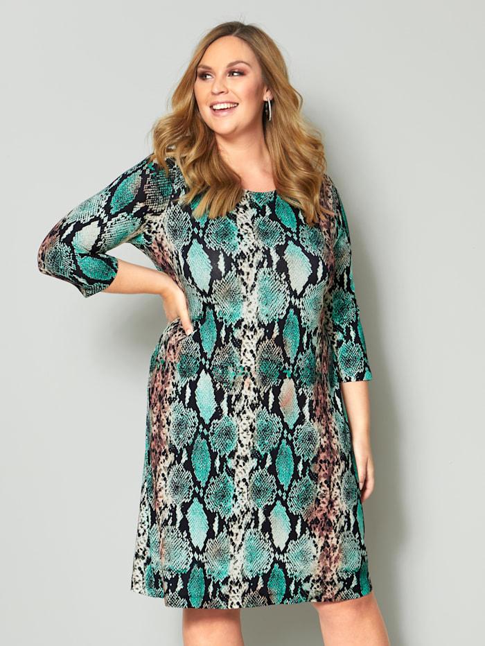 Sara Lindholm Jersey jurk met slangenprint, Zwart/Groen